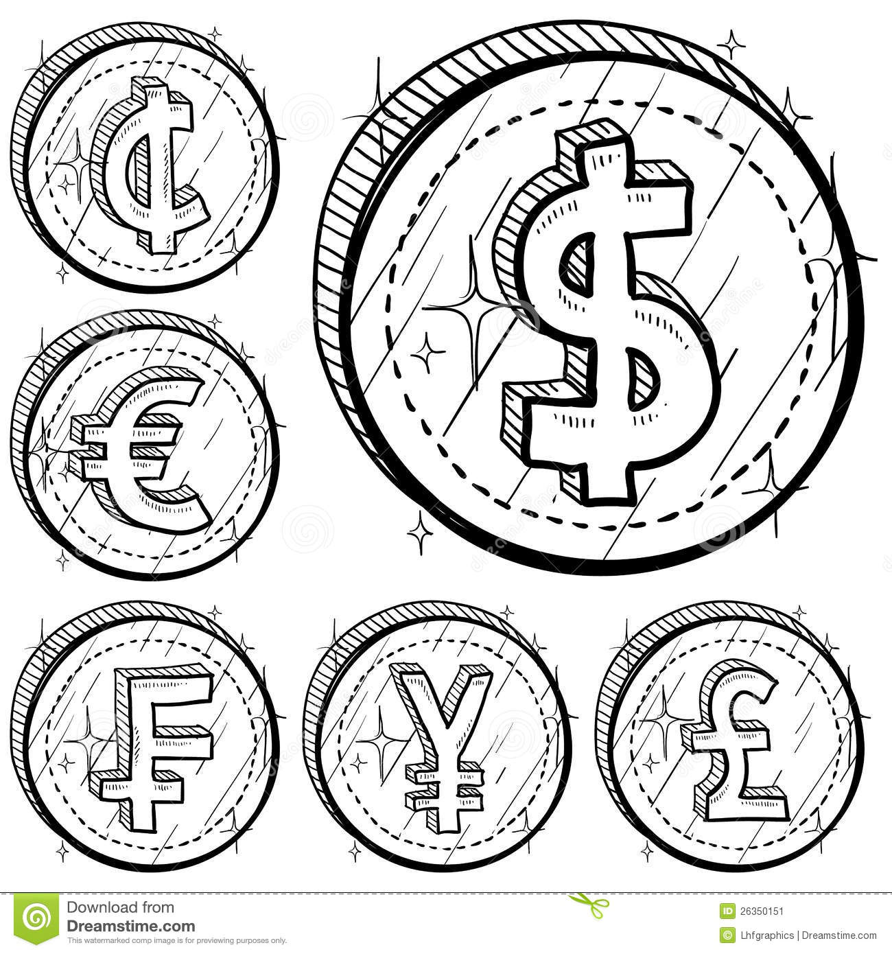 International Currency Symbol Coins Stock Vector Image