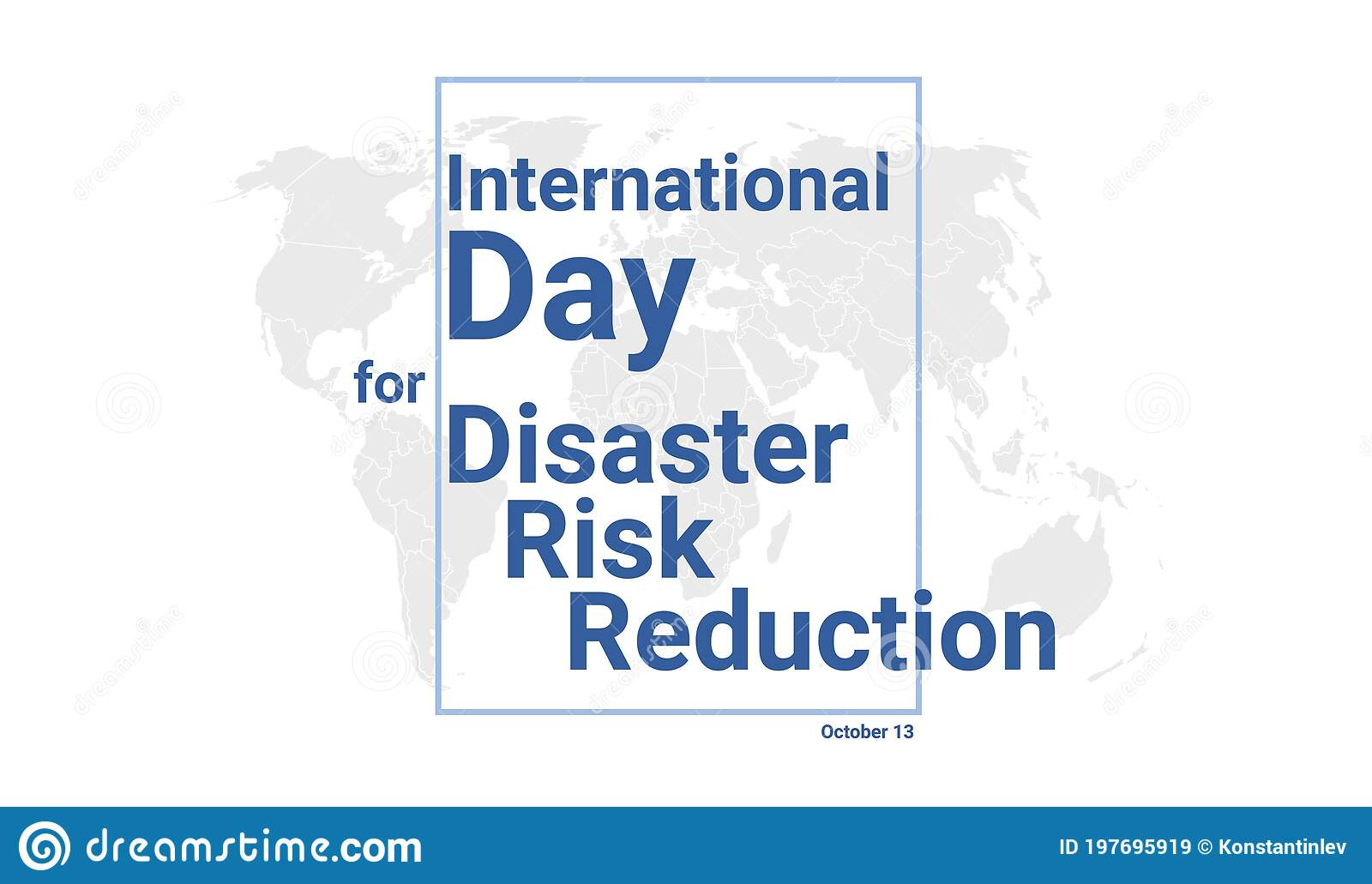 International Day For Disaster Risk Reduction Holiday Card. October 13  Graphic Poster Stock Vector - Illustration of blue, tourist: 197695919