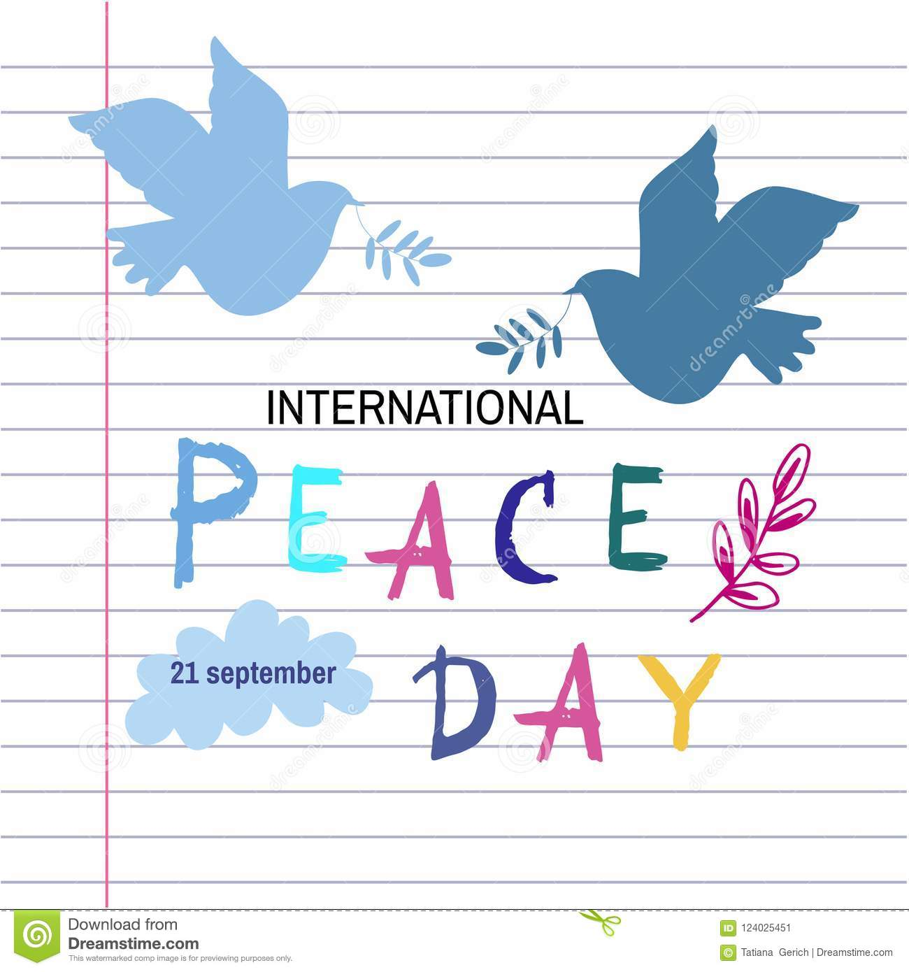 Peace day template poster stock vector. Illustration of leaf - 124025451
