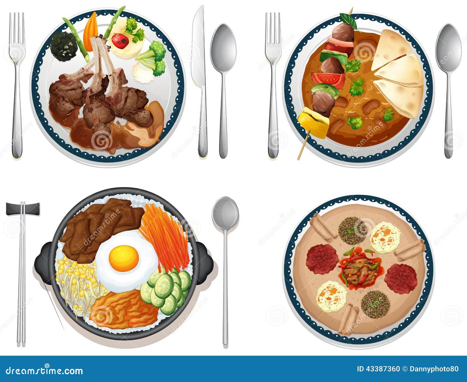 International food stock vector Image of graphic  : international food illustration four dishes 43387360 from www.dreamstime.com size 1300 x 1079 jpeg 193kB