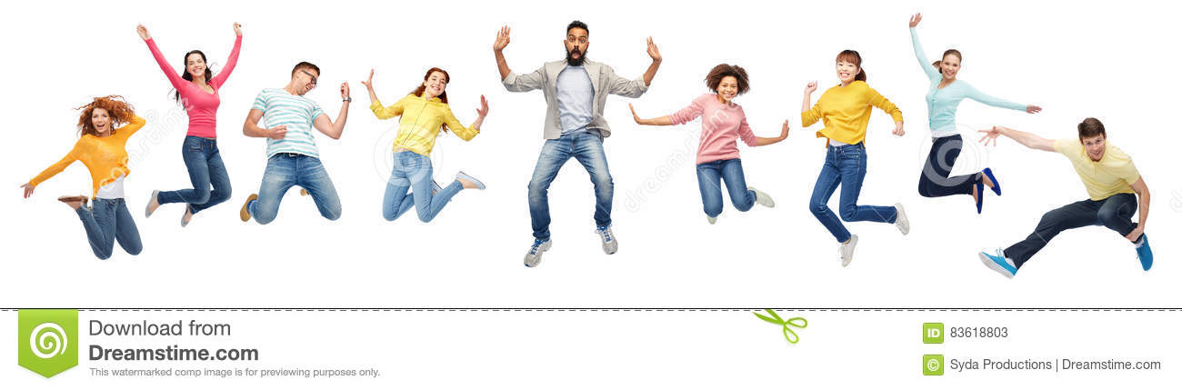 International group of happy people jumping