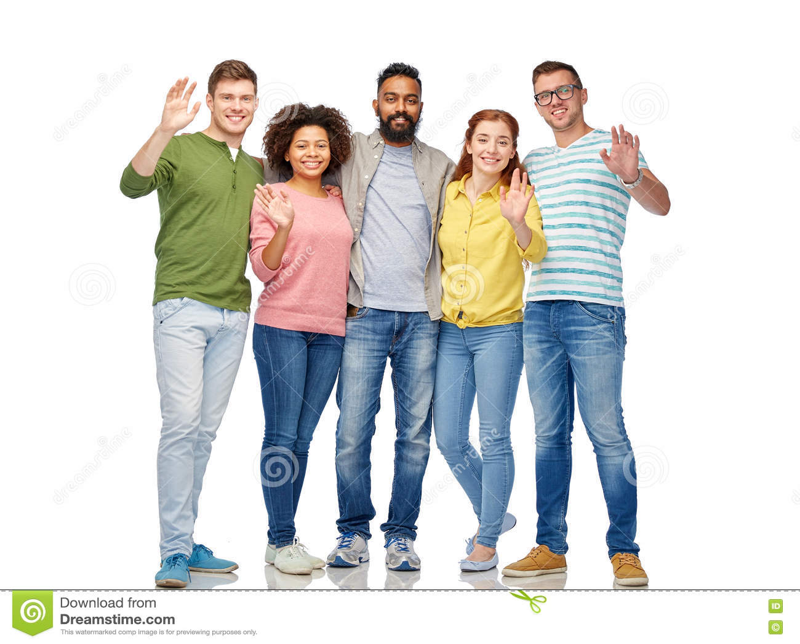 International Group Of Happy People Waving Hands Stock ...