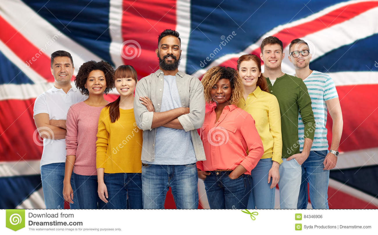 International group of people over british flag