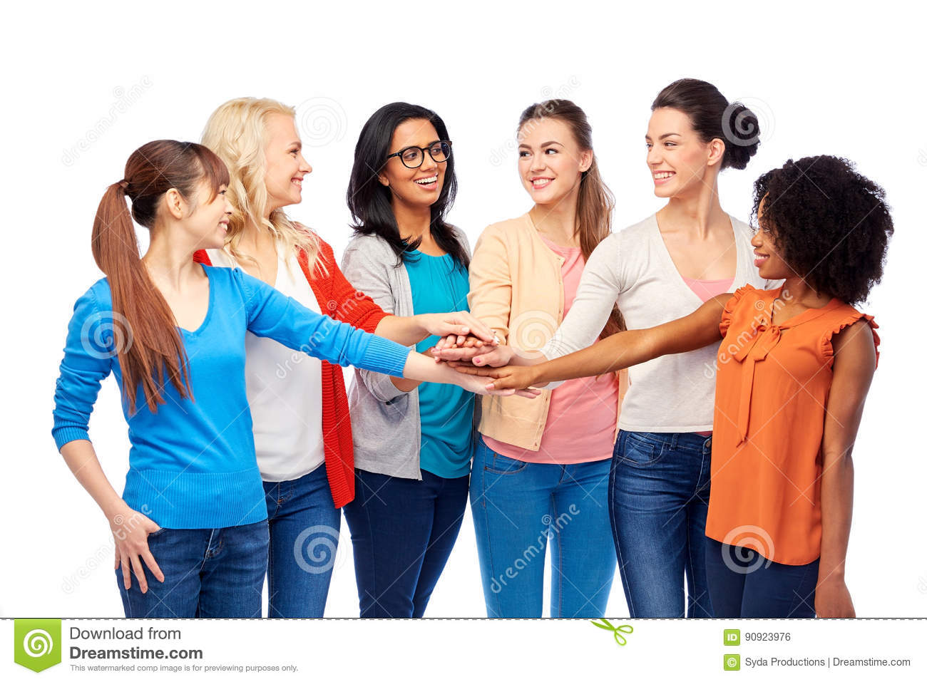 International Group Of Women With Hands Together Stock ...
