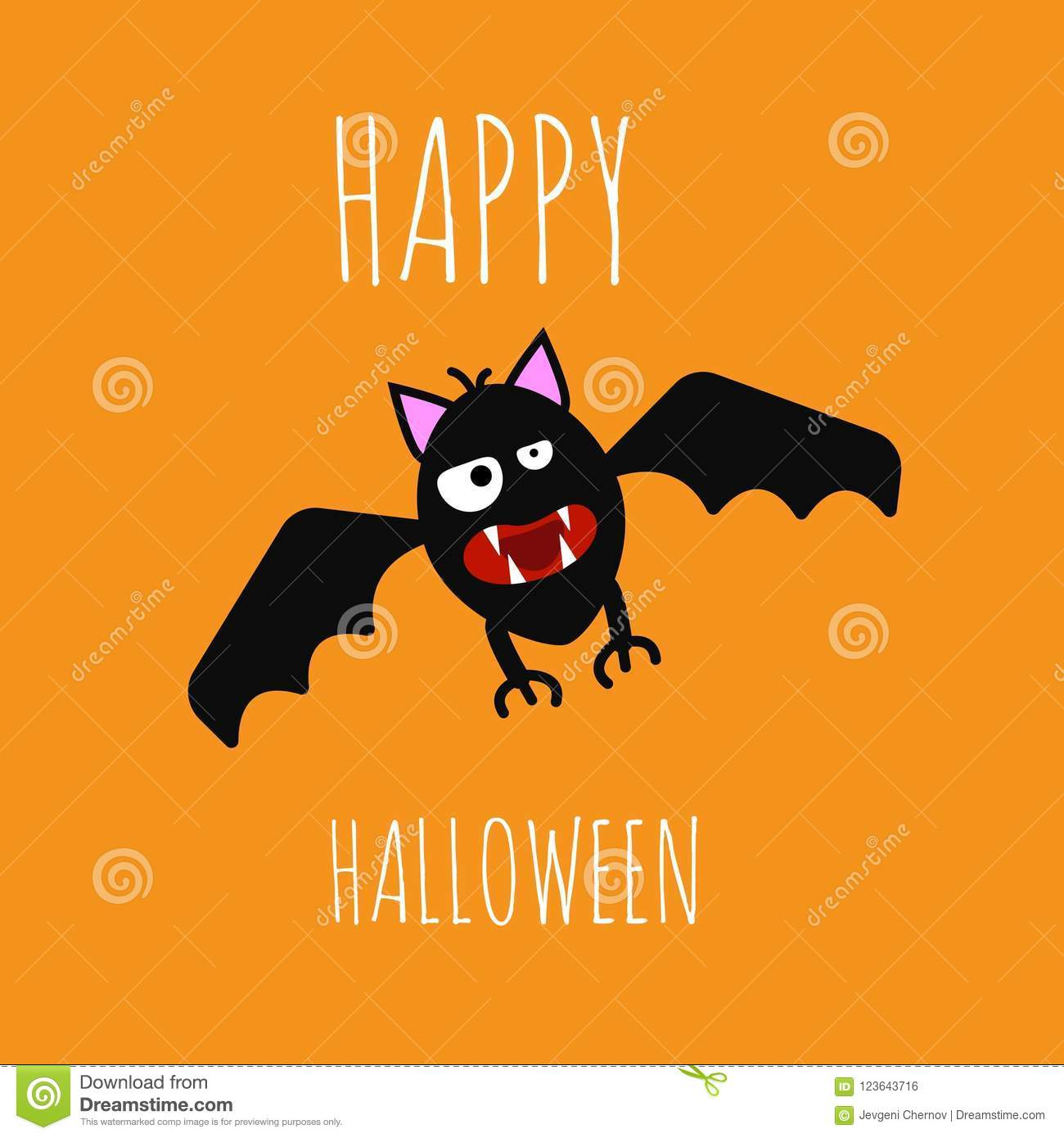 funny evil bat happy halloween on bright background stock vector