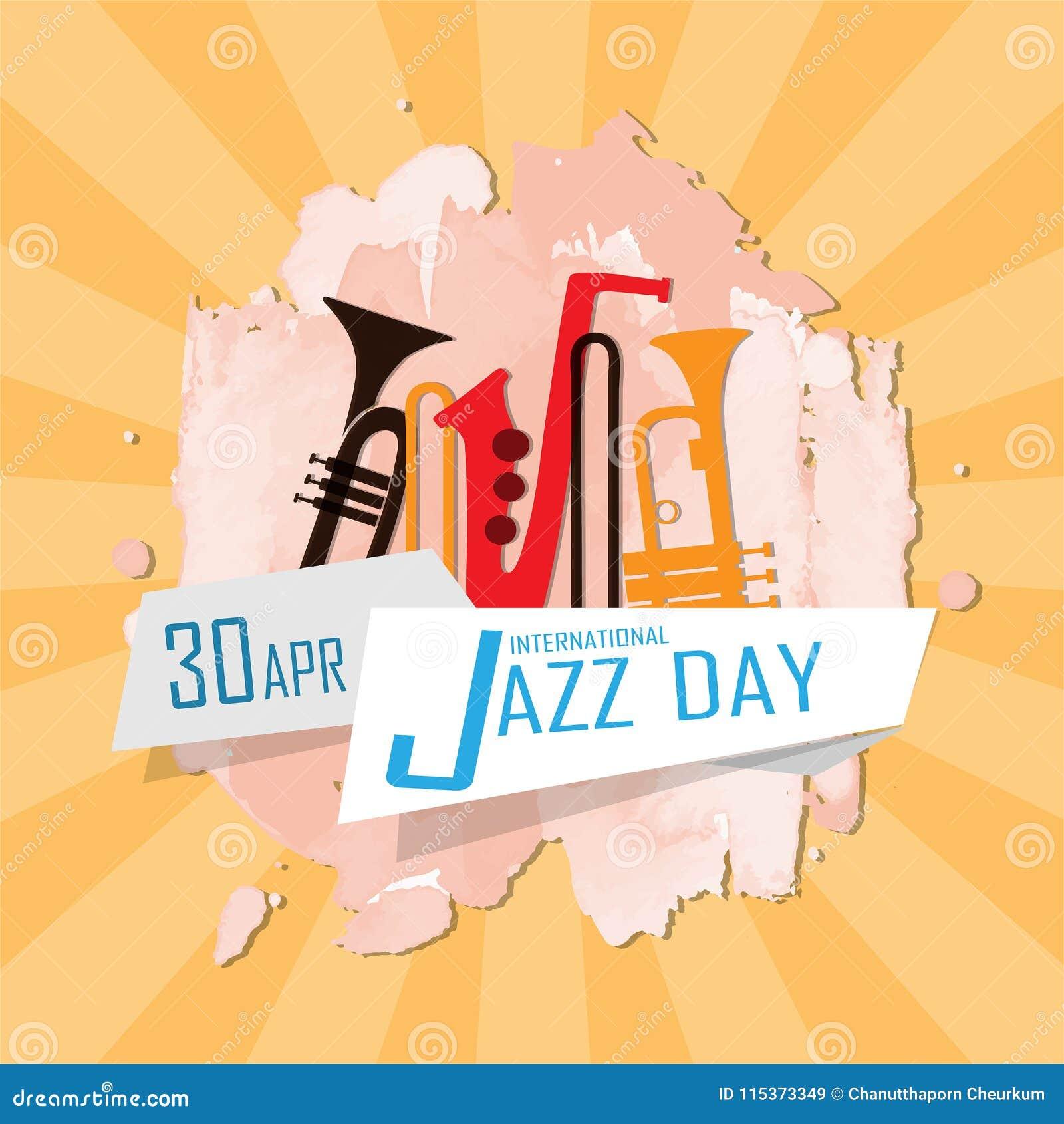 International Jazz Day stock illustration. Illustration of banner -  115373349