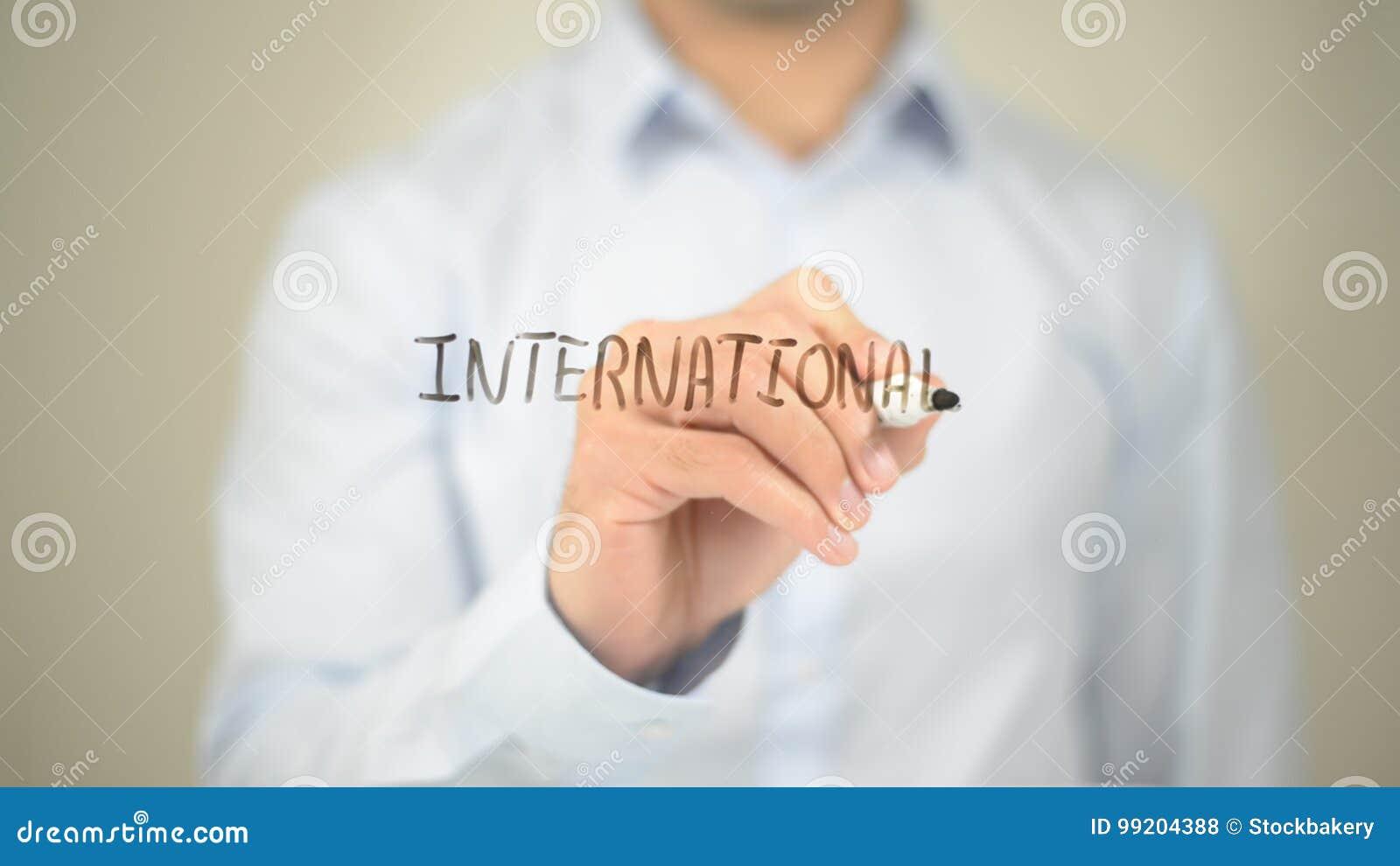 International manhandstil på den genomskinliga skärmen