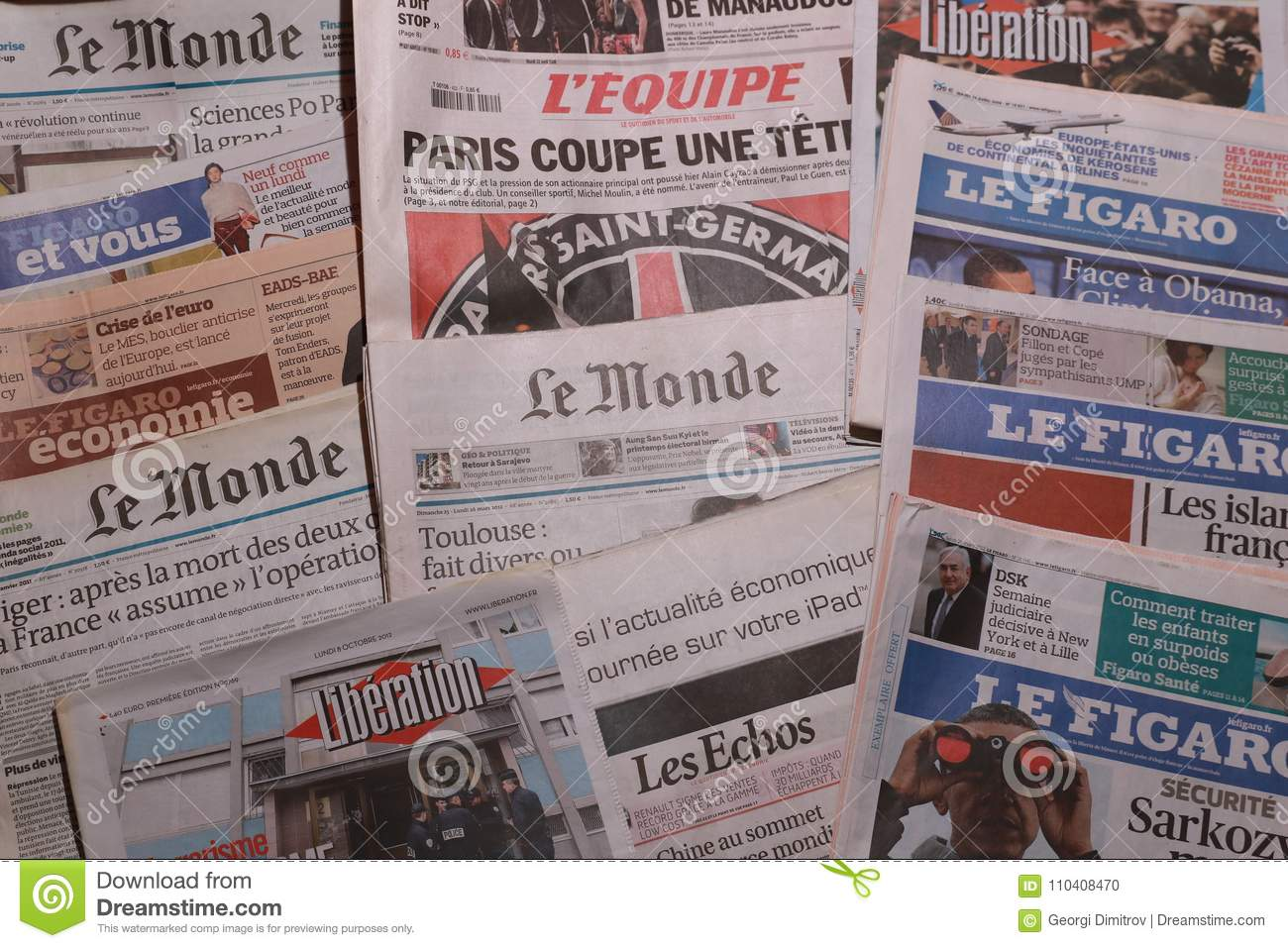 International Newspaper  French Newspapers Editorial Image