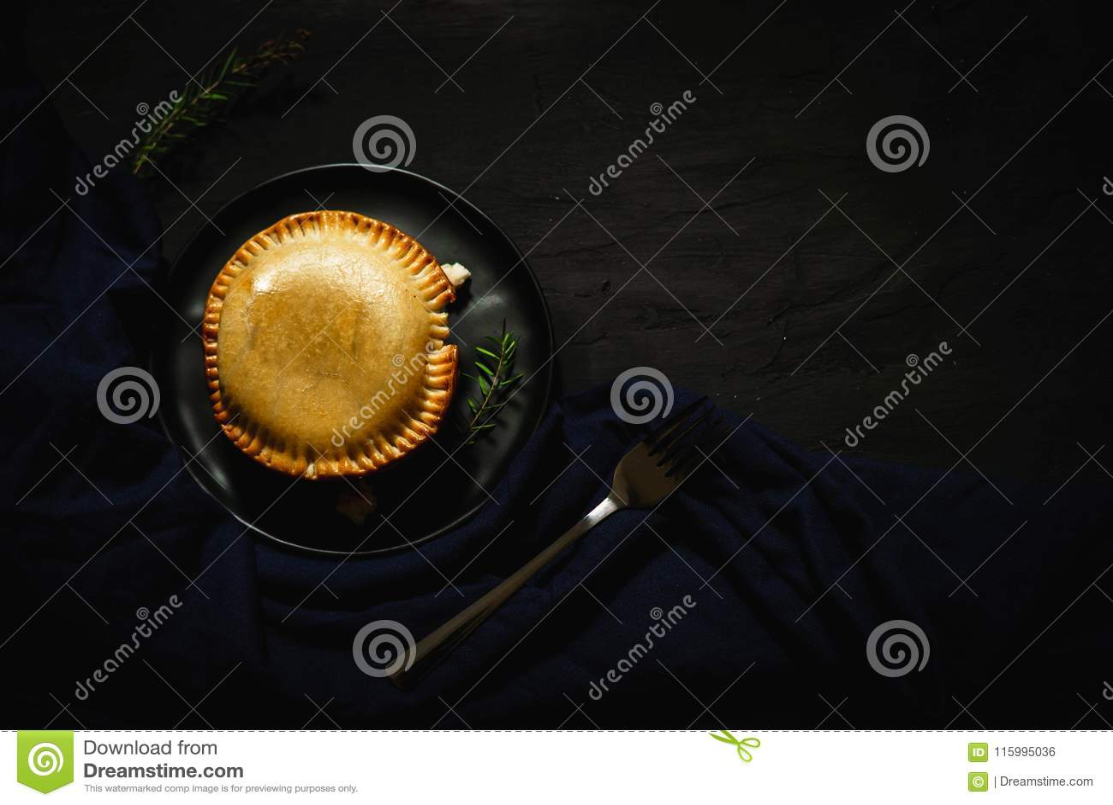 International puff and pie, Chicken pie, round and golden baked pie