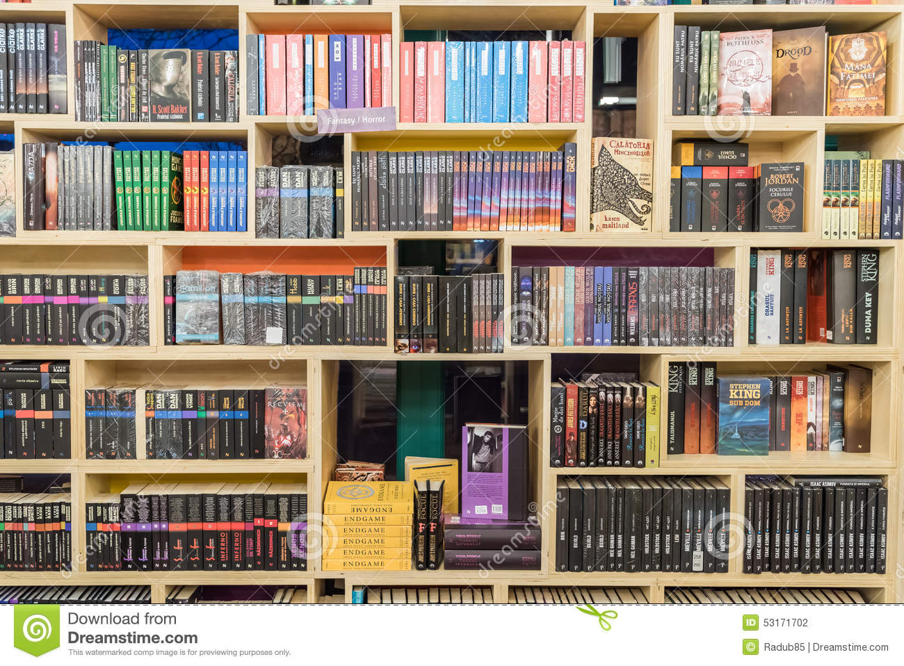 international science fiction books on library shelf. Black Bedroom Furniture Sets. Home Design Ideas