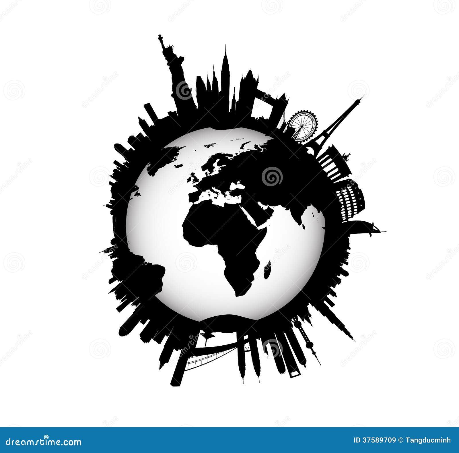 International Skyline With World Globe Royalty Free Stock Images ...