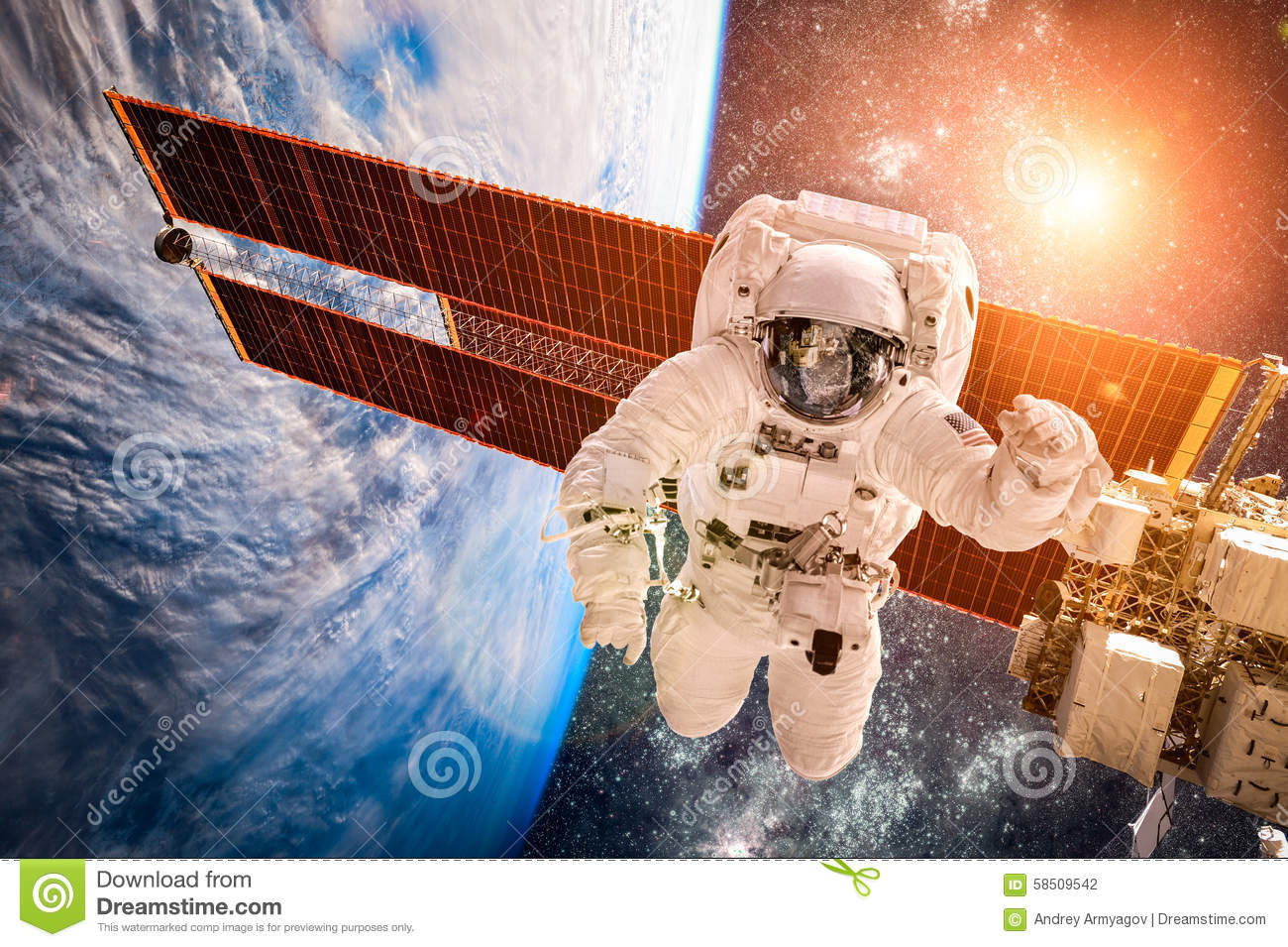 International Space Station And Astronaut Stock