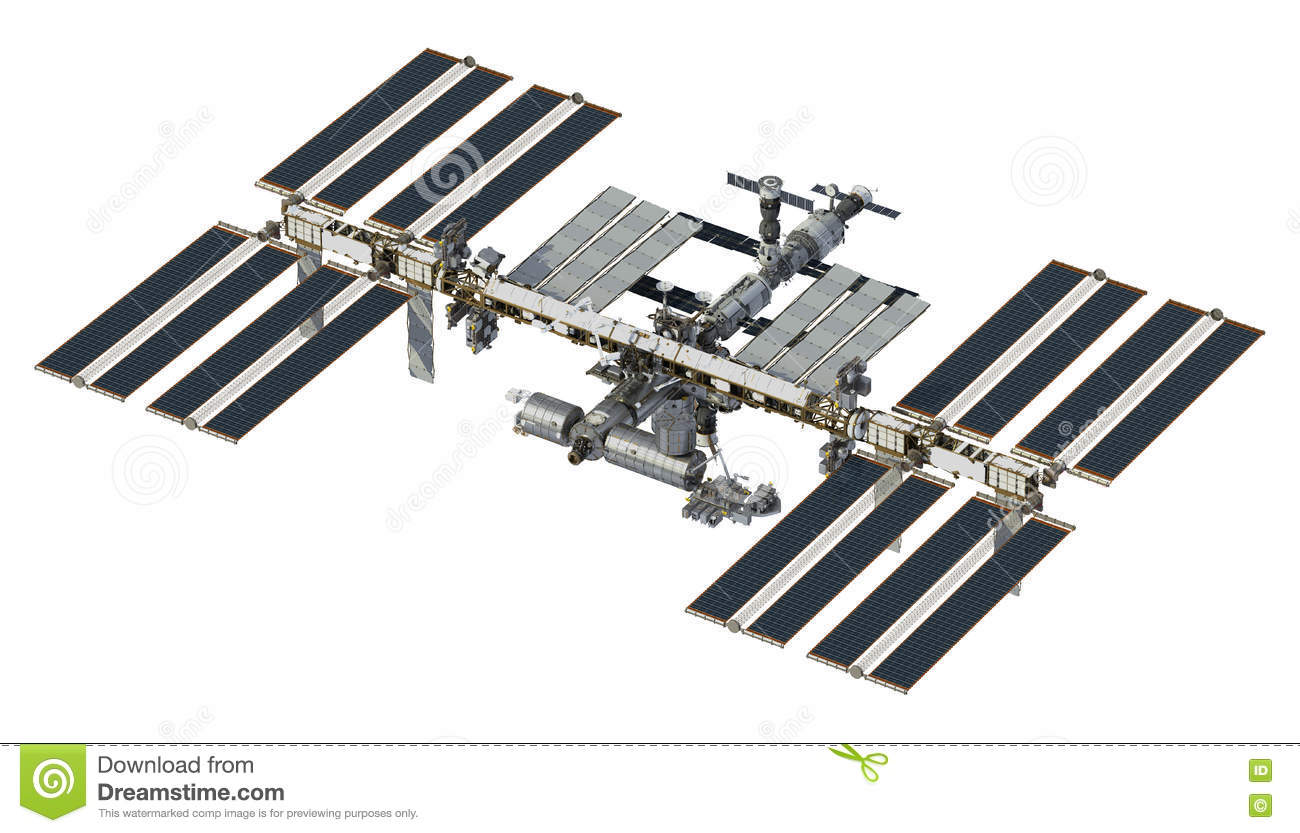 International Space Station On White Background Stock