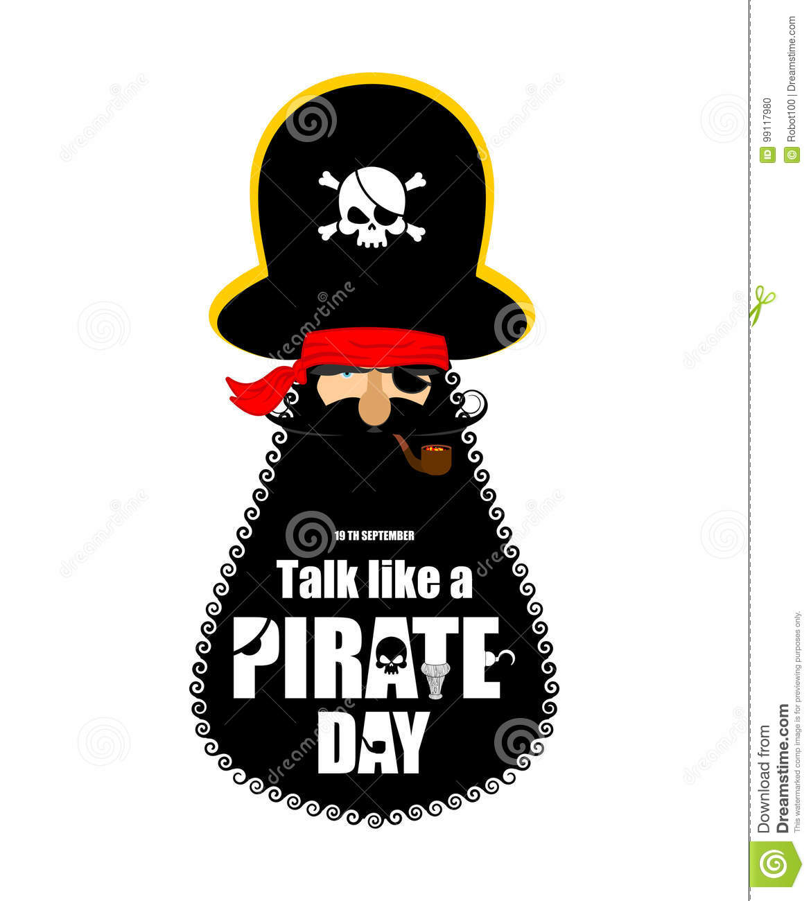 e43f7ea8927 International Talk Like A Pirate Day. Pirate portrait in hat. Eye patch and  smoking pipe. filibuster cap. Bones and Skull. Head corsair black beard.