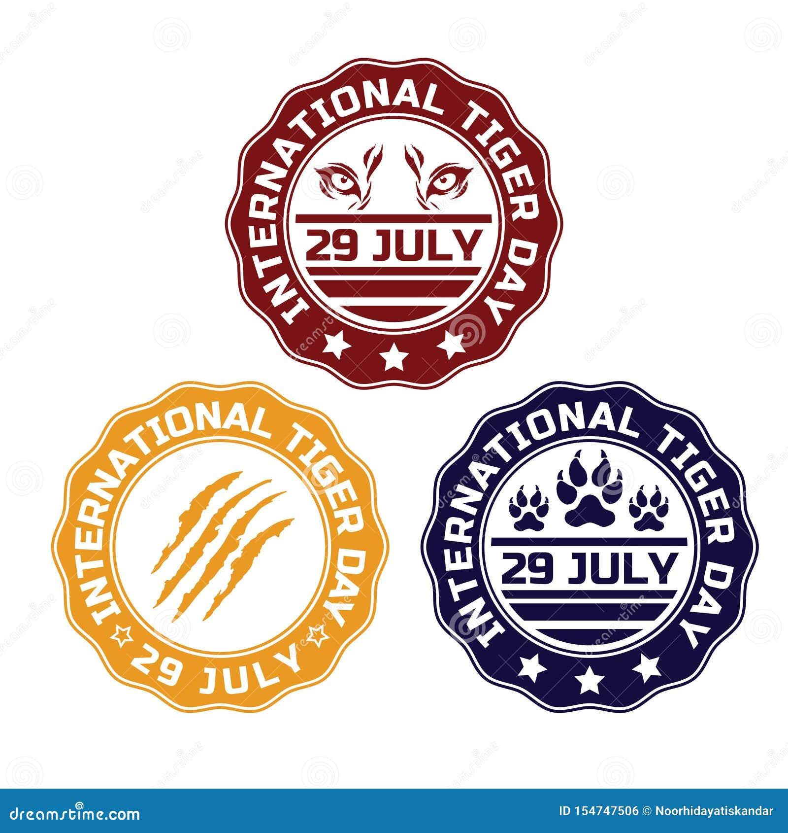 International Tiger Day Emblem. Tiger`s symbol vector color illustration. July 29. Tiger`s Paw. Tiger`s eye