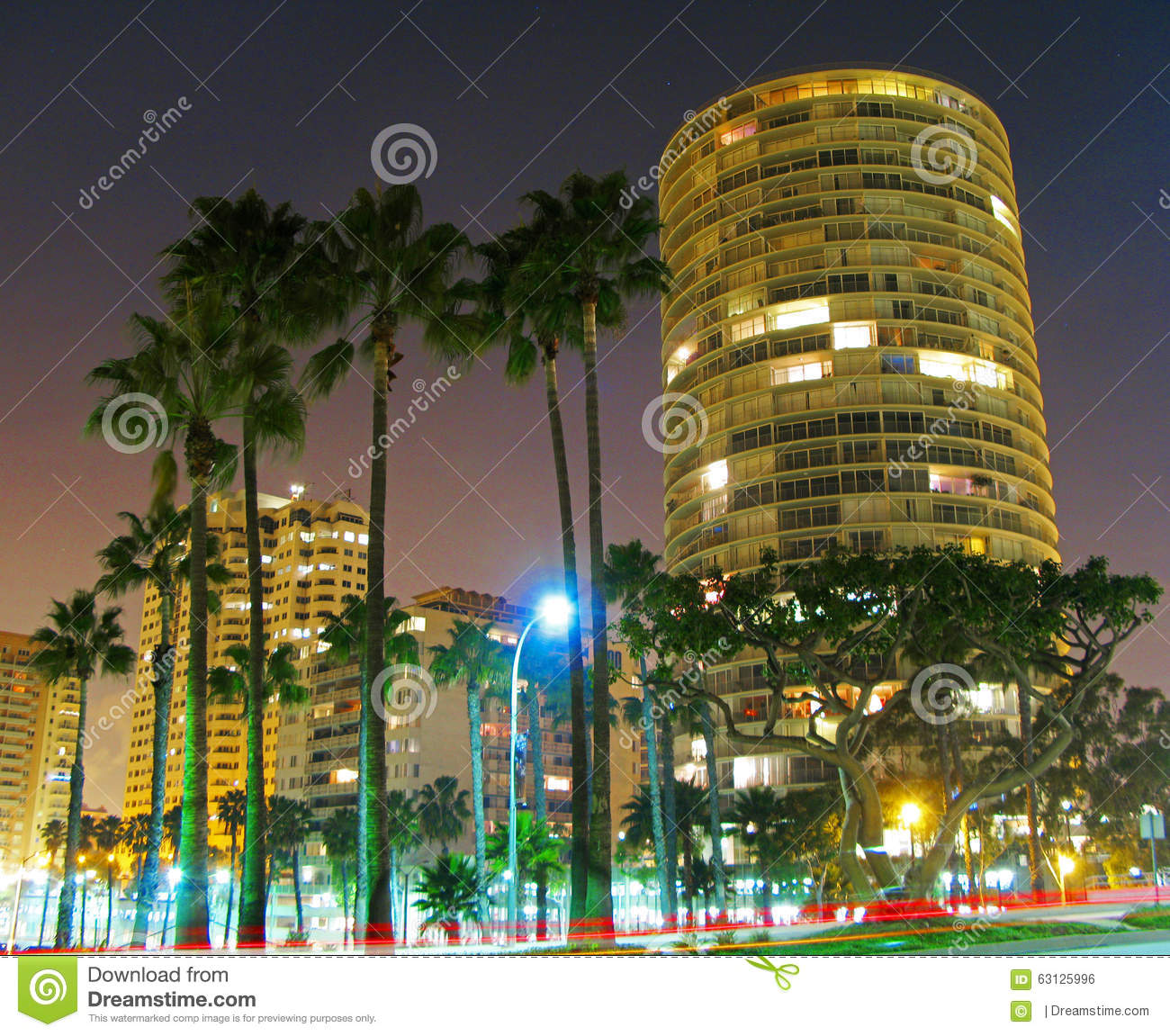 International Tower Long Beach Long Exposure Stock Photo