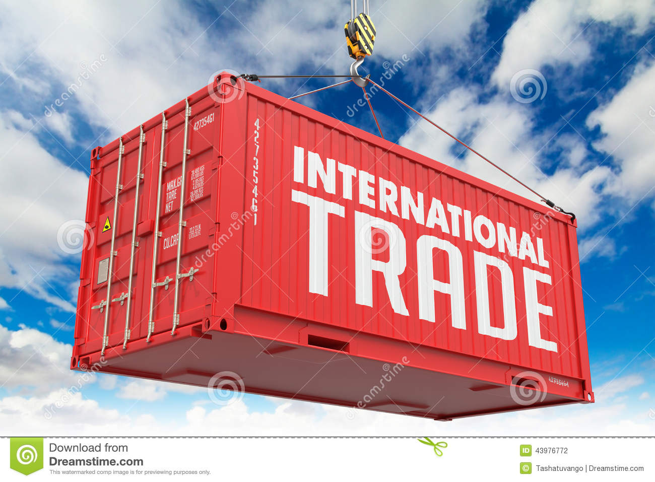 International Trade On Red Container. Stock Photo - Image: 43976772