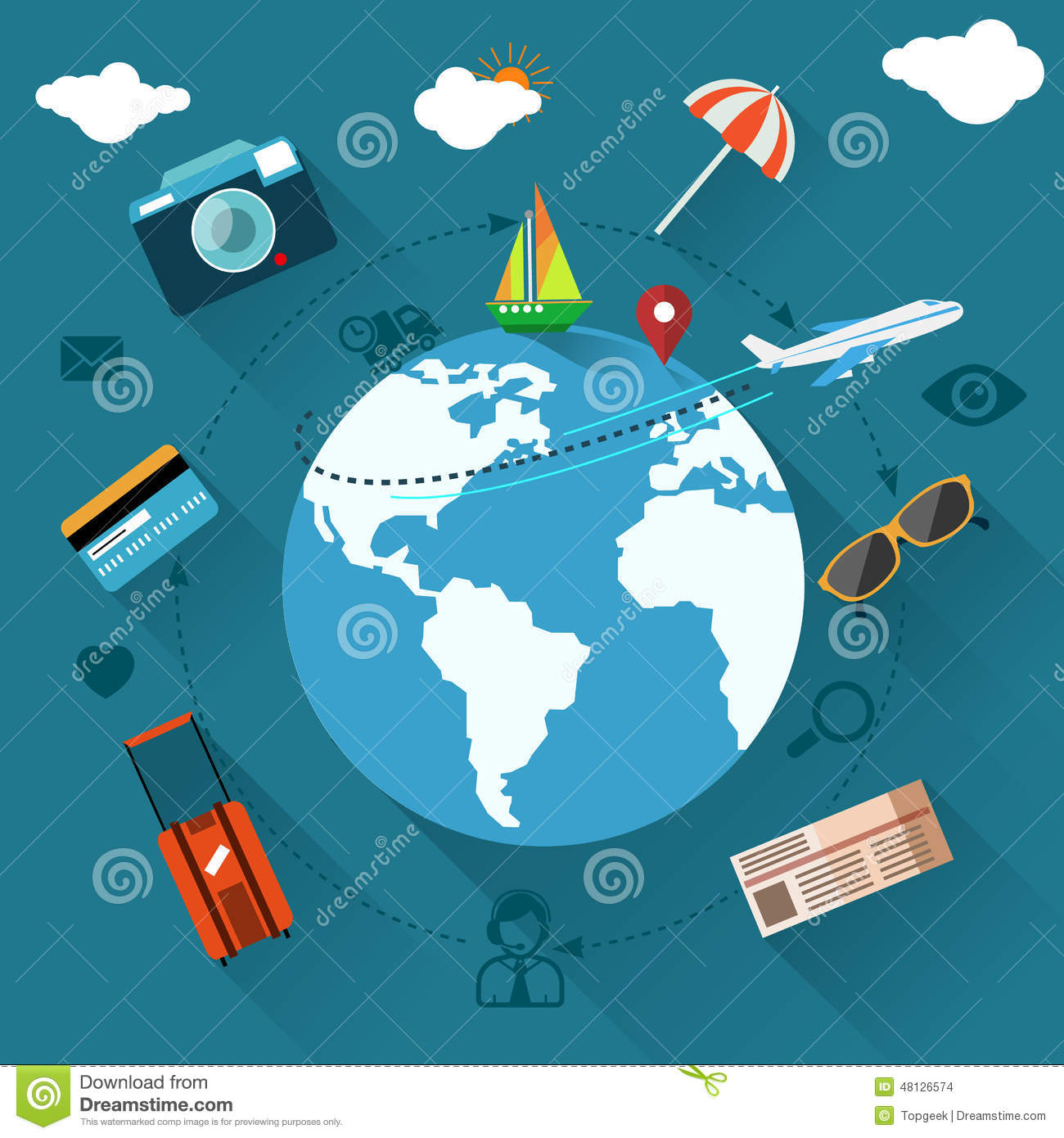 International Travel By Airplane Stock Vector - Image: 48126574
