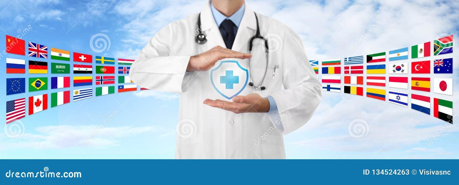 International Travel Medical Insurance Concept Doctors Hands