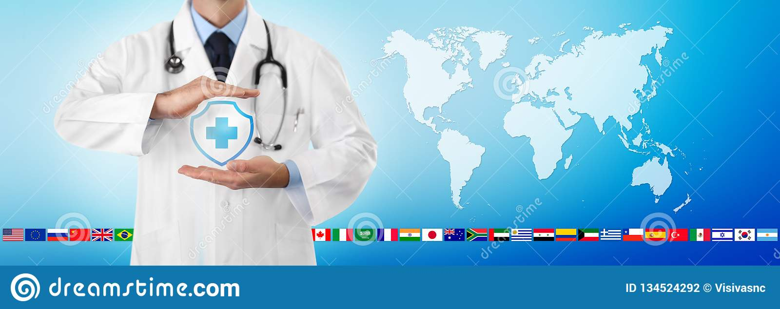 International Travel Medical Insurance Concept, Doctor`s