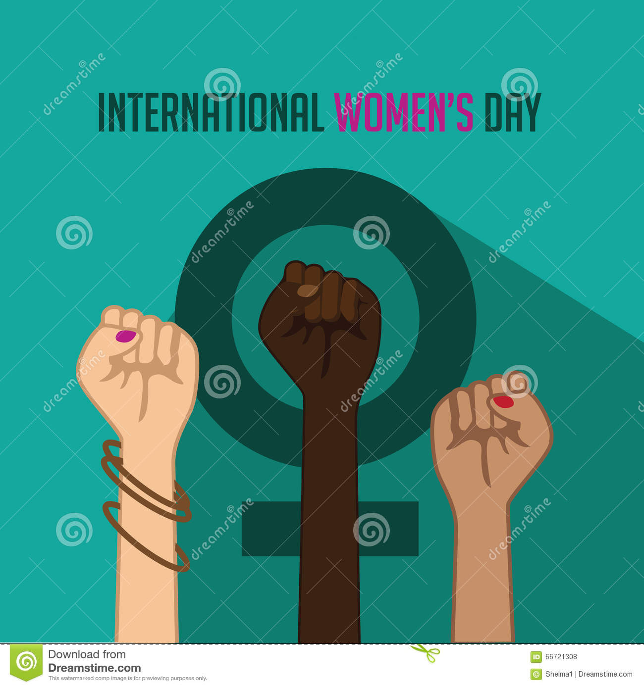 International Women's Day Poster With Raised Fists Stock Vector ...