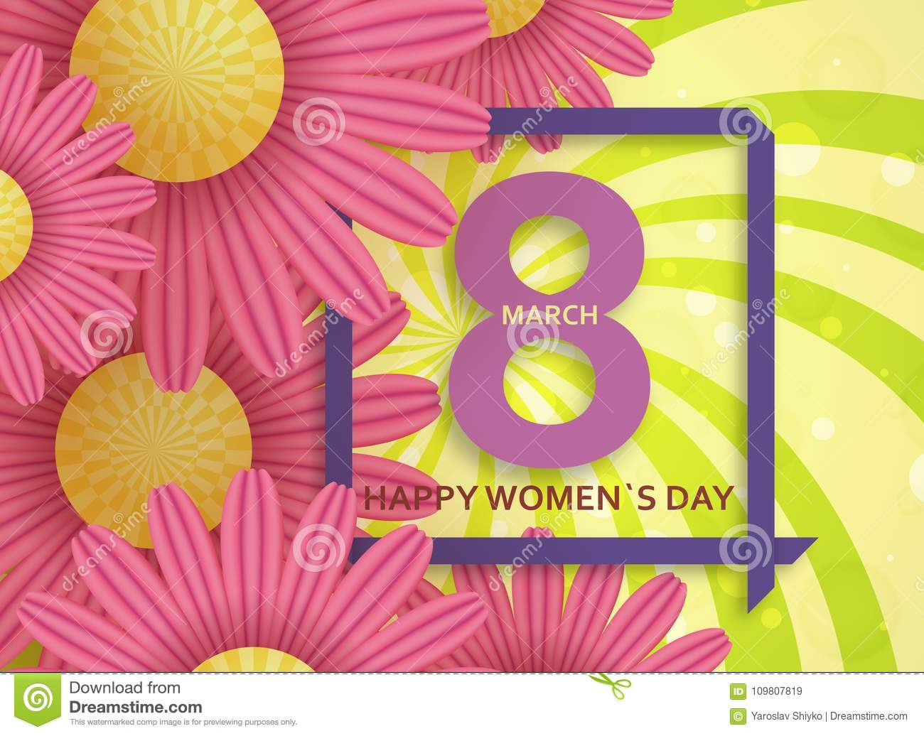 international womens day greeting card 8 march template with daisy