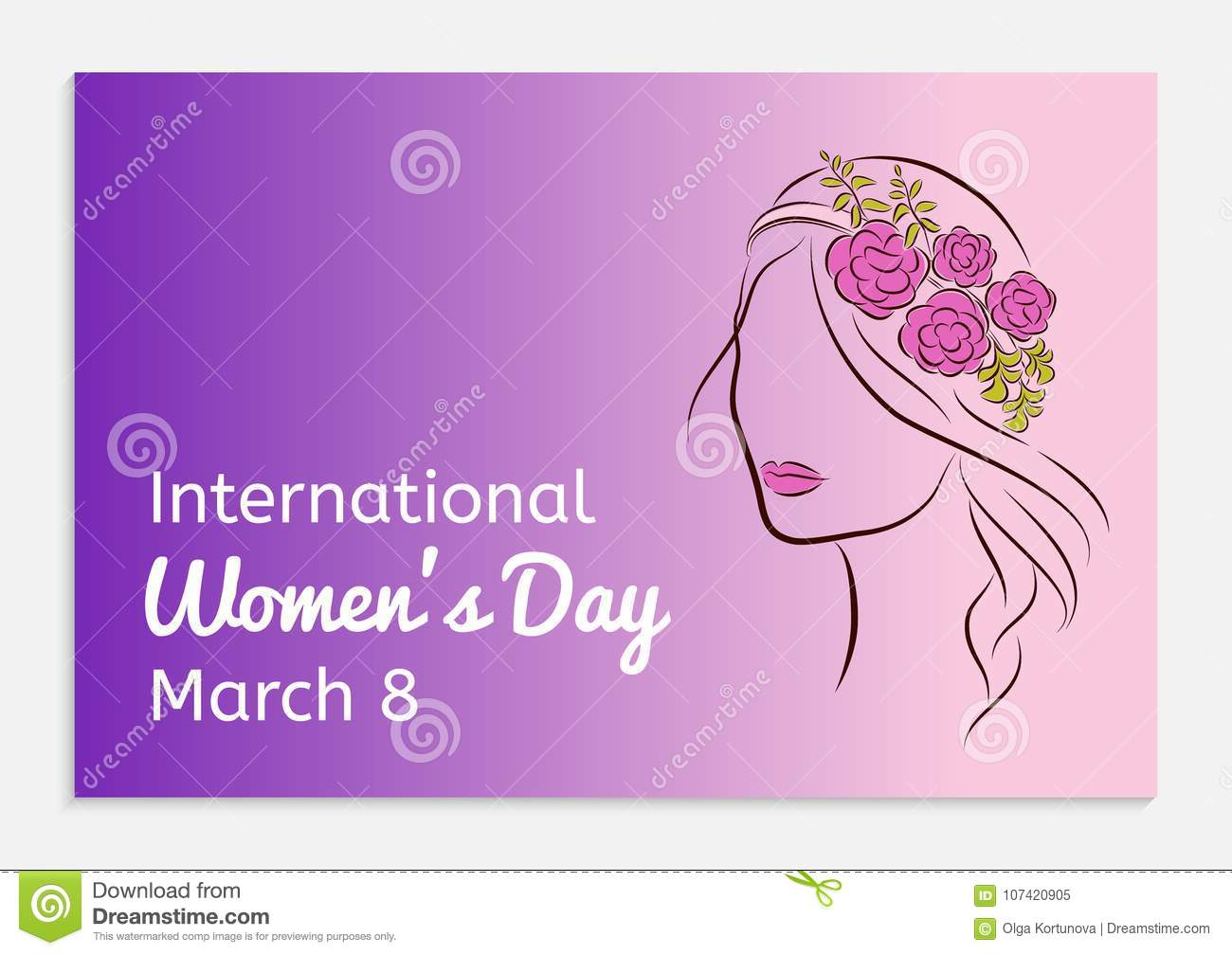 International womens day greeting card silhouette of a beautiful international womens day greeting card silhouette of a beautiful girl in a rim with flowers on her head fashionable izmirmasajfo Image collections