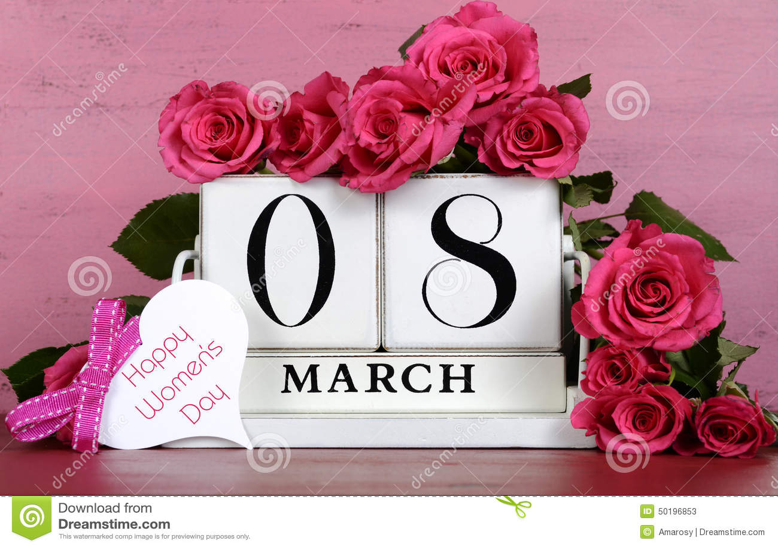 International Womens Day white vintage wood block calendar