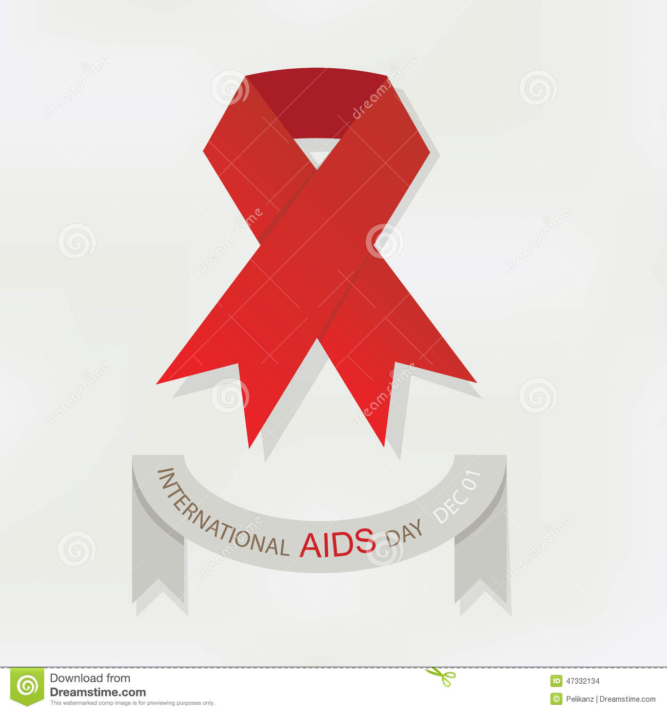 International World AIDS Day Red Ribbon Poster Stock ...