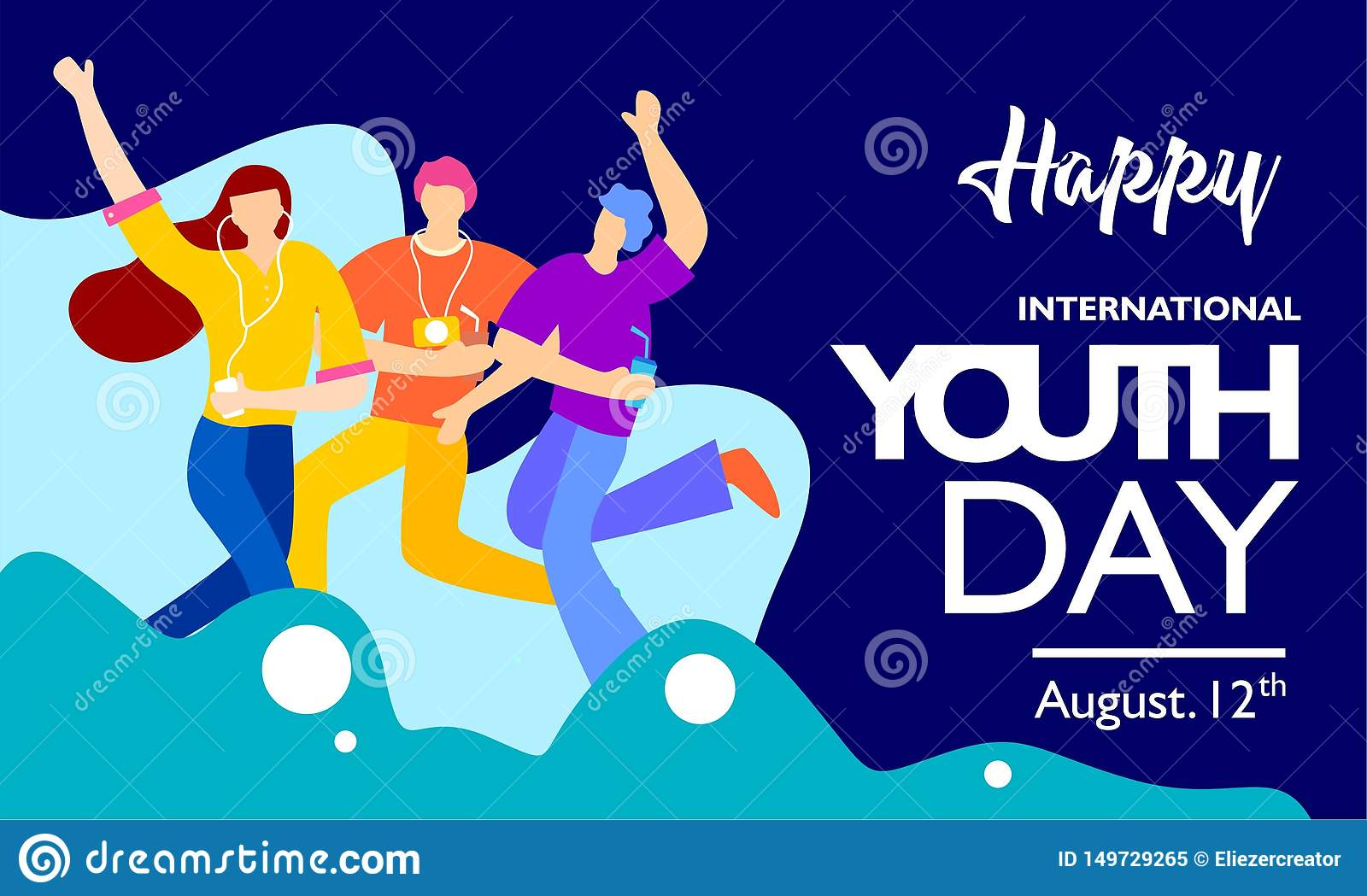 International youth day, August 12 th. with active and passionate young people illustration. on blue wave shape and blue backgroun