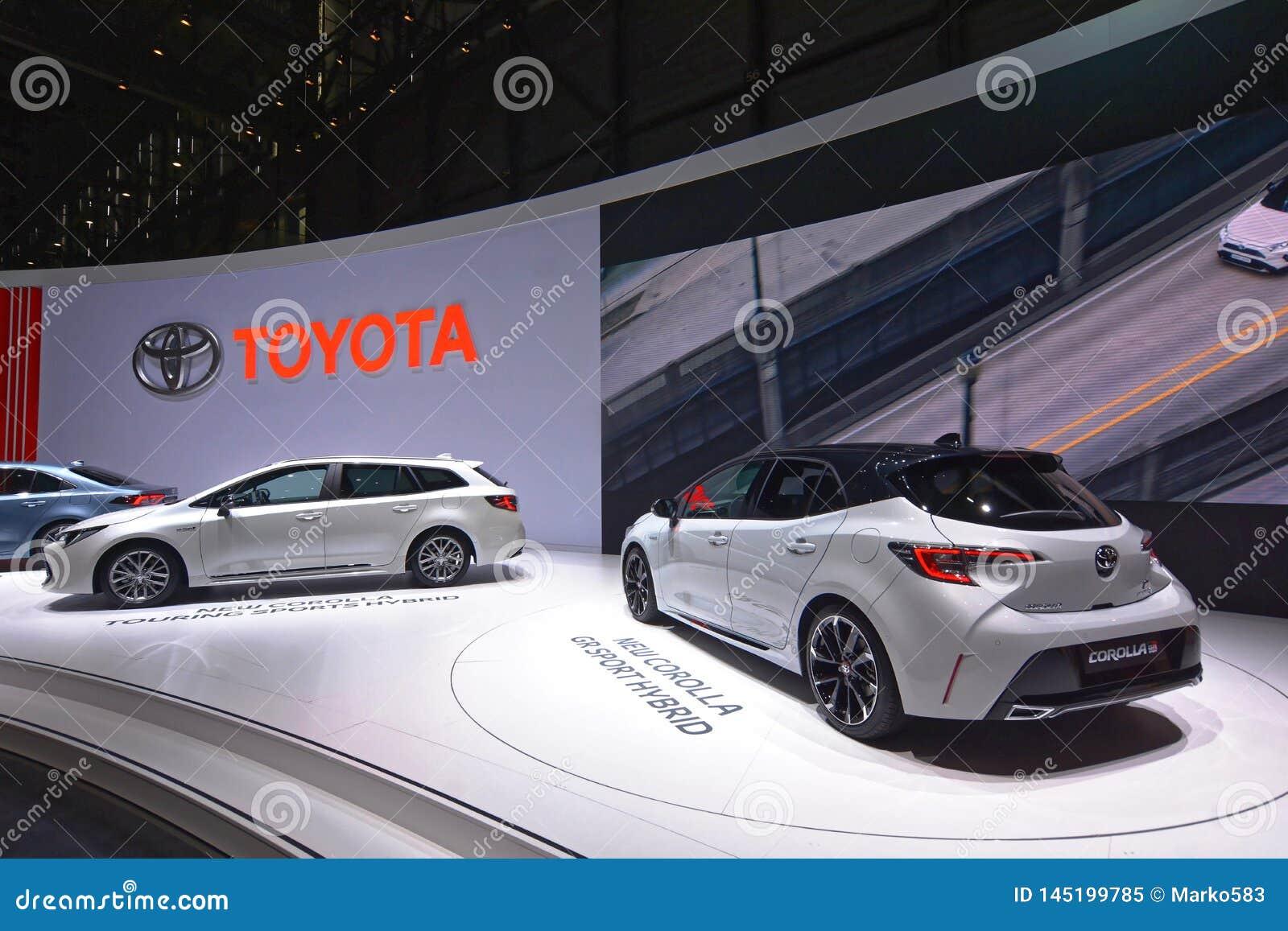 Internationale de Motorshow van 89ste Genève - het Sport Hybrid van Toytota Corolla gr.