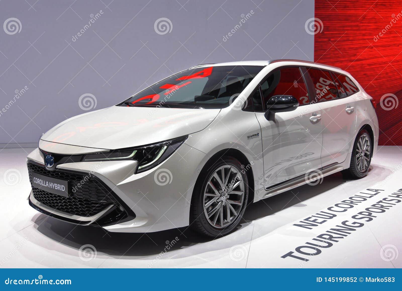 Internationale de Motorshow van 89ste Genève - het Touring Sportshybride van Toytota Corolla