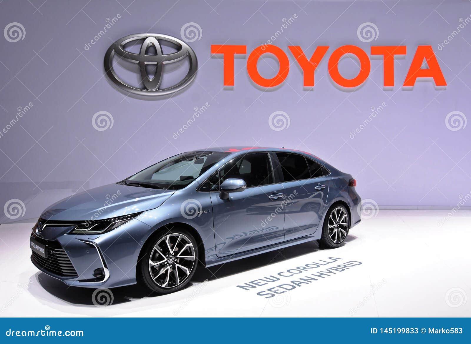 Internationale de Motorshow van 89ste Genève - de Sedanhybride van Toytota Corolla