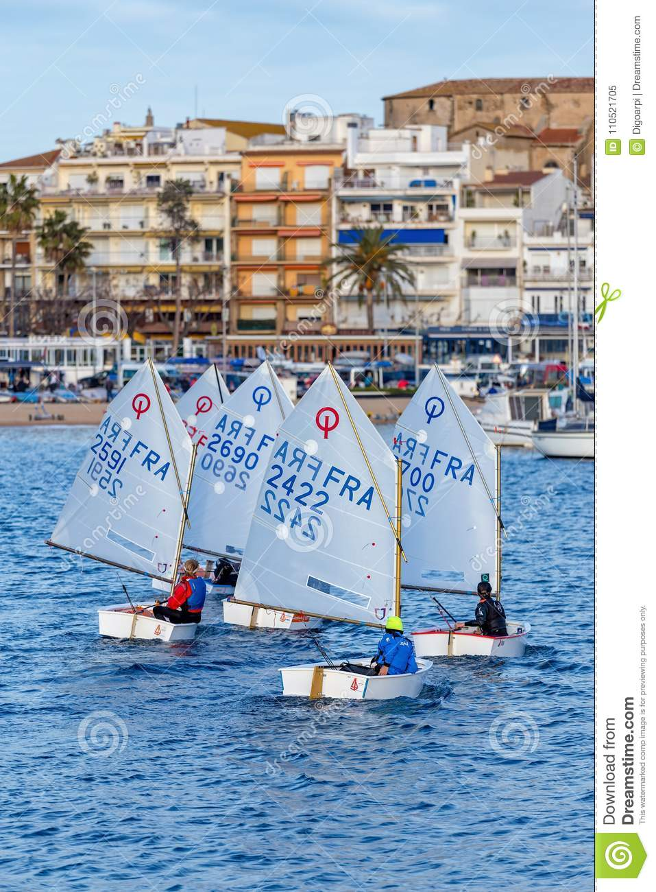 29. INTERNATIONALE PALAMOS-OPTIMIST-TROPHÄE 2018, 13. NATIONS-SCHALE, am 15. Februar 2018, Stadt Palamos, Spanien