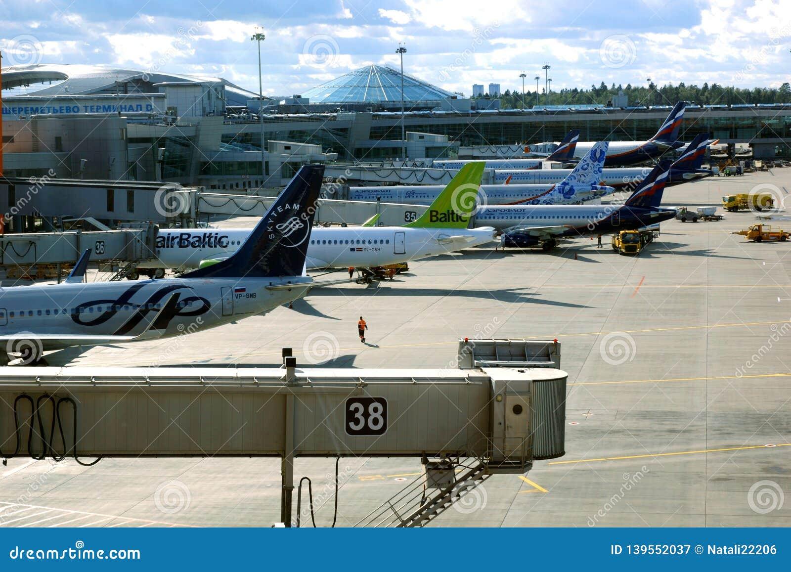 Internationaler Flughafen IATA Sheremetyevo: SVO, ICAO: UUEE ist ein internationaler Flughafen, der in Khimki, Moskau Oblast, Rus