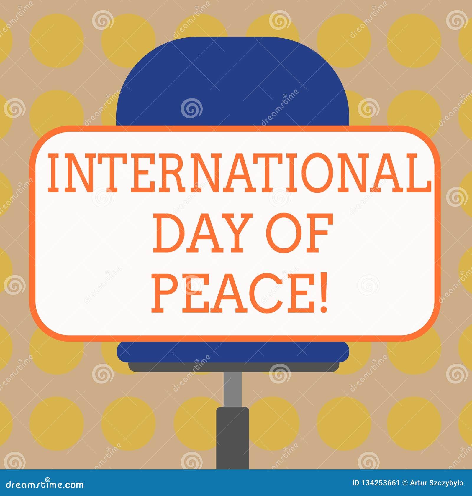 Internationell dag för ordhandstiltext av fred Affärsidé för världsomspännande fridsamt mellanrum för berömhoppfrihet