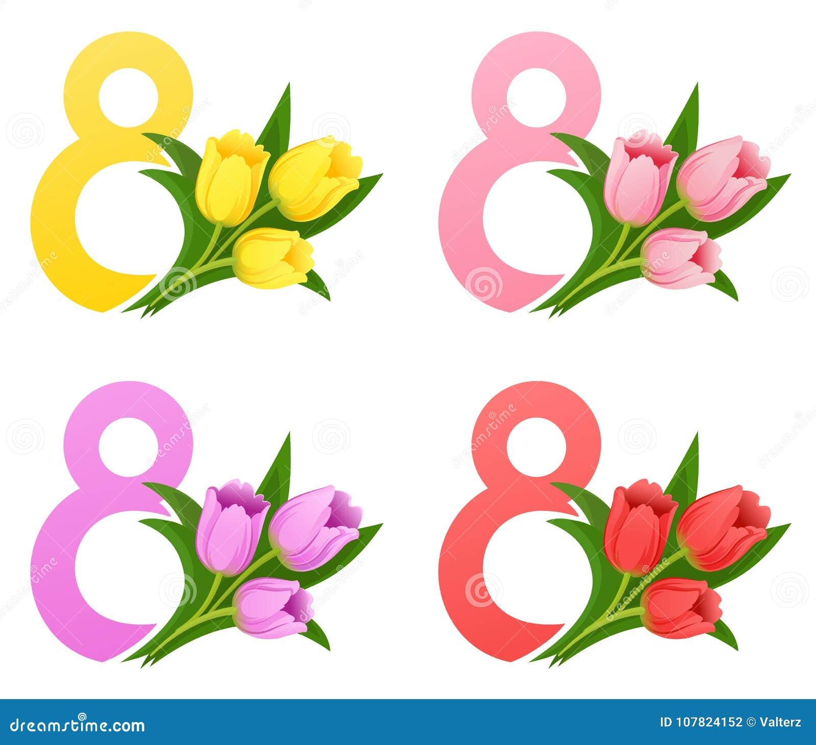 Internationell marsch för dag för kvinna` s 8 med en bukett av tulpanvektorillustrationen