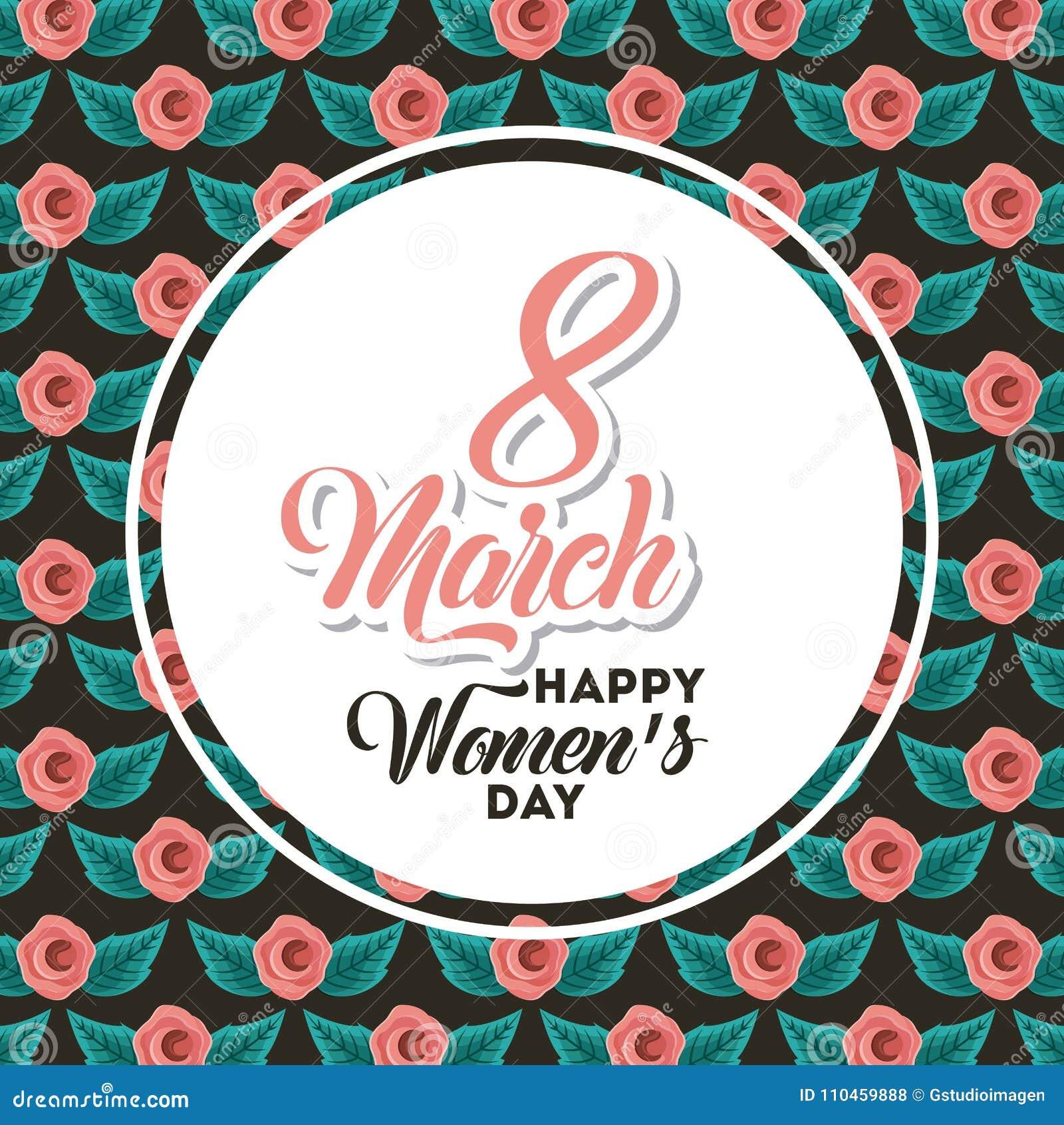 Internationella kort för hälsning för lycklig kvinnors för affisch marsch för dag 8 blom-