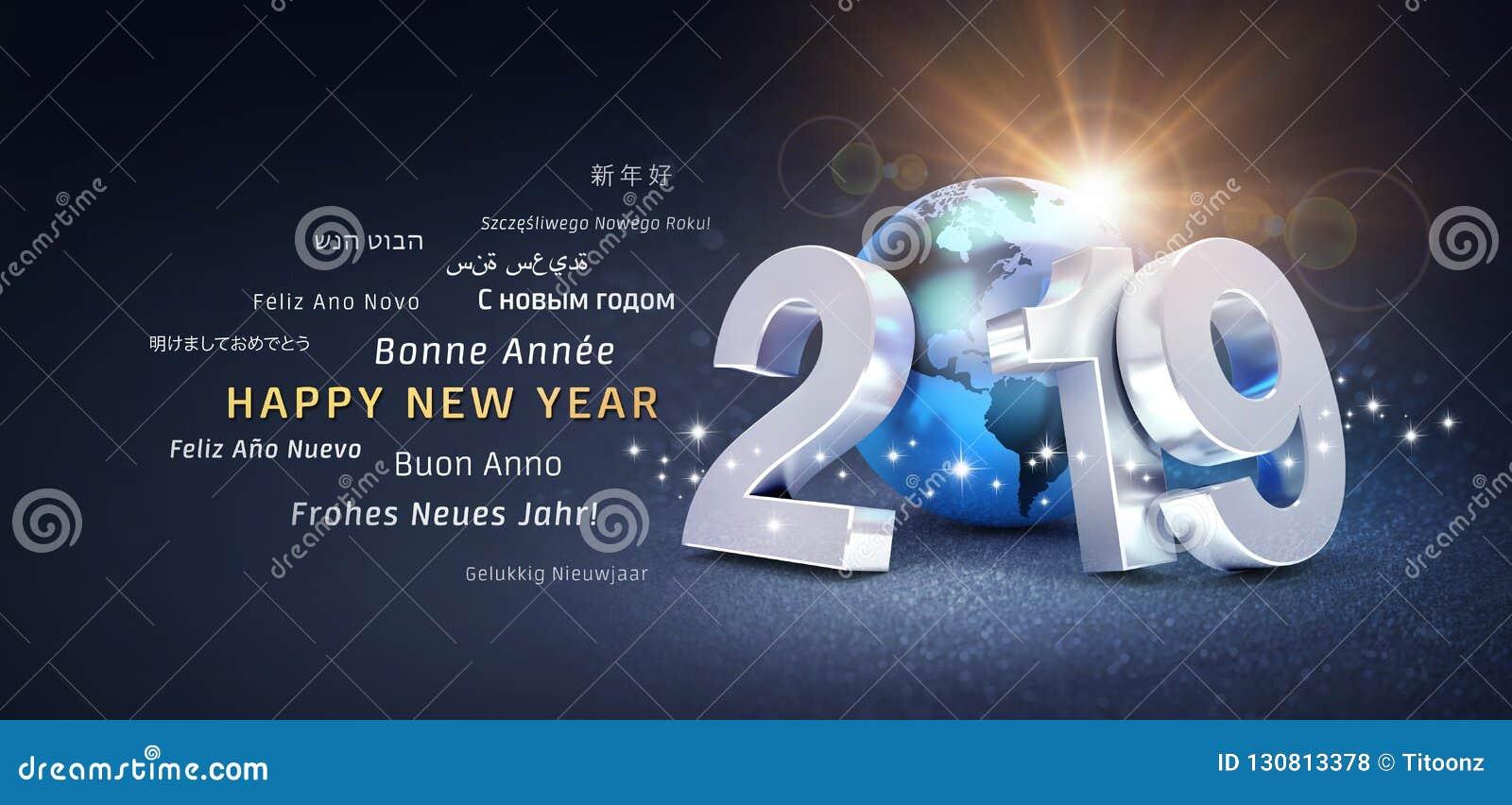 Internationellt hälsa kort för lyckligt nytt år 2019