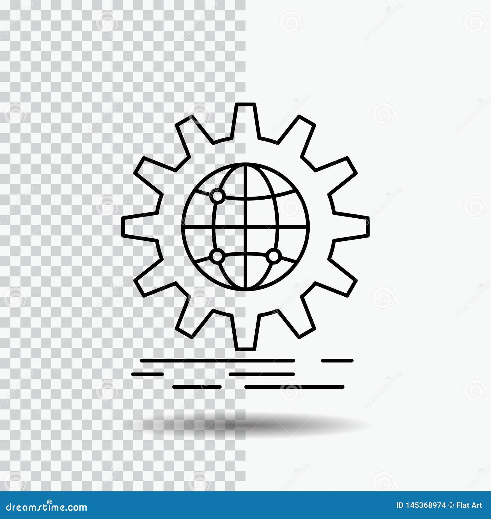 Internazionale, affare, globo, mondiale, linea icona dell ingranaggio su fondo trasparente Illustrazione nera di vettore dell ico
