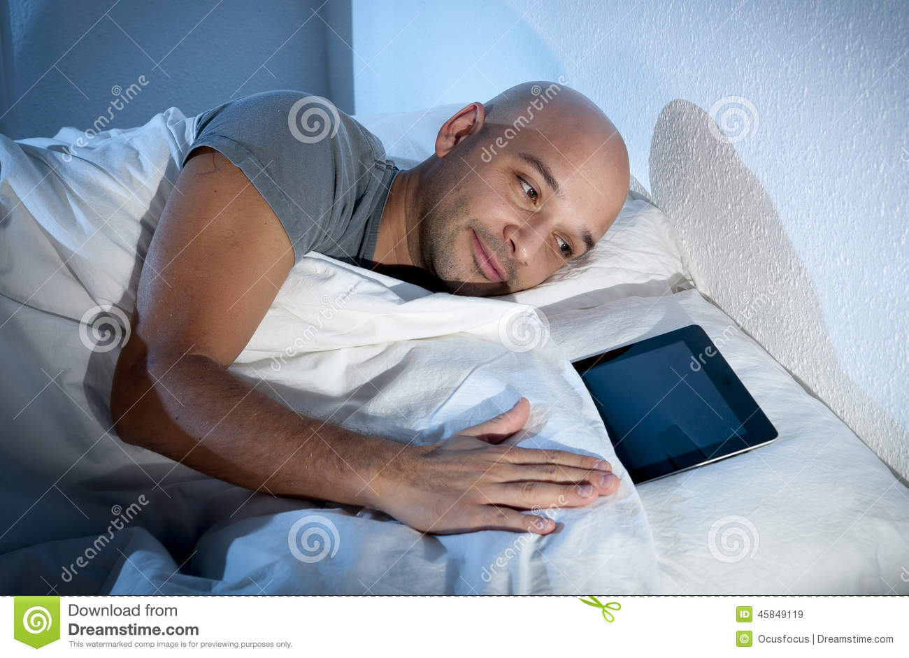 Internet Addict Man Awake Late At Night In Bed Sleeping ...
