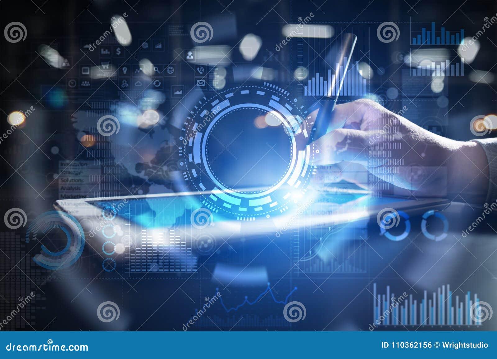 Internet-, affärs- och teknologibegrepp Symbols-, diagram- och grafbakgrund på den faktiska skärmen