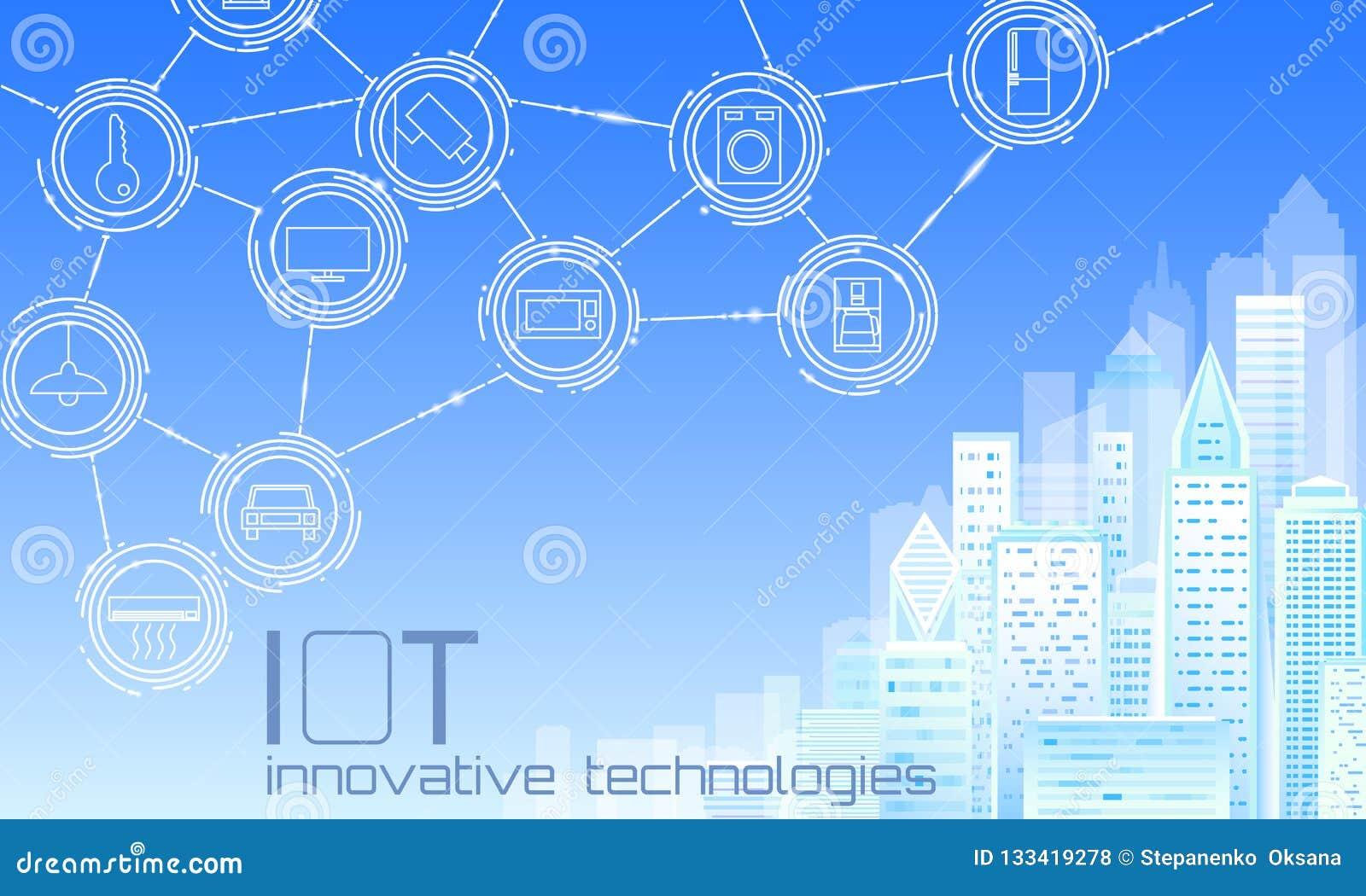 Internet av ingreppet för tråd för stad 3D för saker det låga poly smarta Intelligent byggande begrepp för automation IOT Modernt
