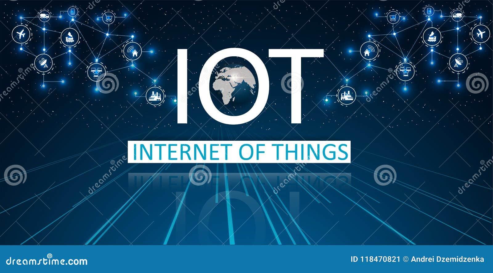 Internet av saker IOT, apparater och uppkopplingsmöjlighetbegrepp på ett nätverk, moln på mitten