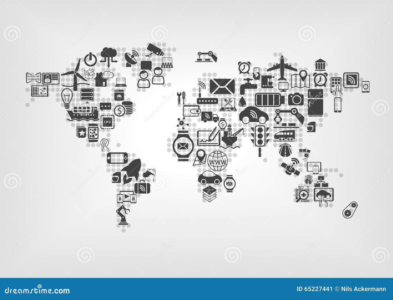 Internet av saker (IOT) och det globala uppkopplingsmöjlighetbegreppet Världskarta av förbindelsesmarta apparater