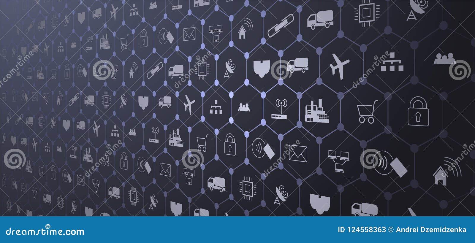 Internet av saker IoT och nätverkandebegreppet för förbindelseapparater Spindelrengöringsduk av nätverksanslutningar