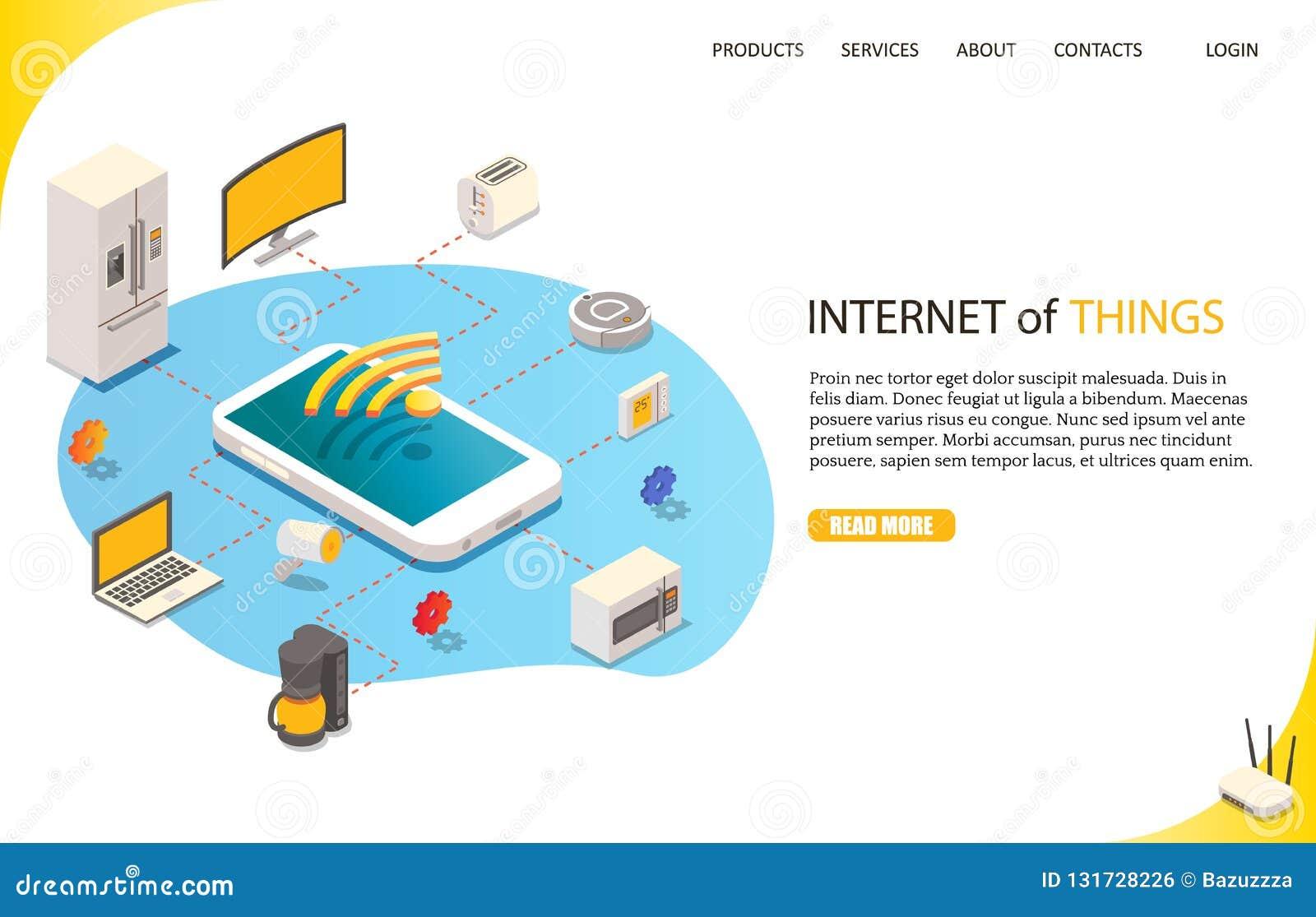 Internet av saker som landar mallen för sidawebsitevektor