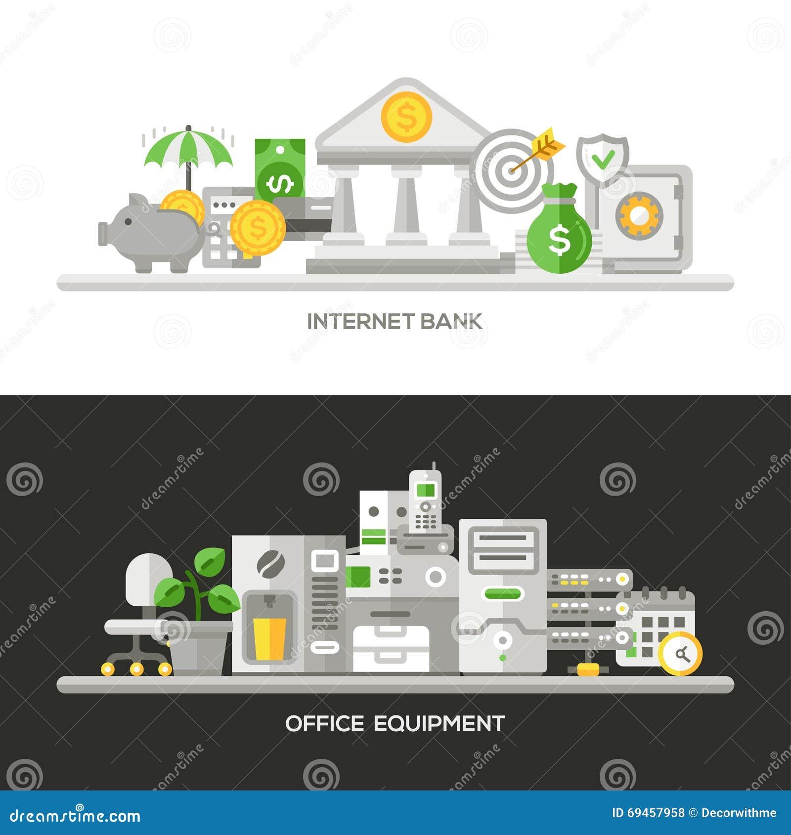 Flat Line Business Concept Web Site Banners Set Vector