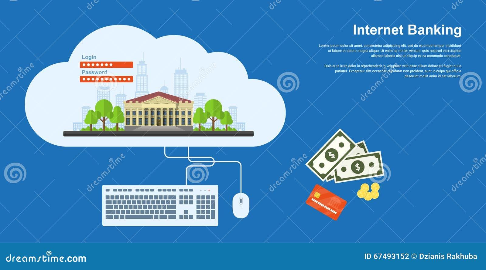 Internet Banking Banner Stock Vector - Image: 67493152