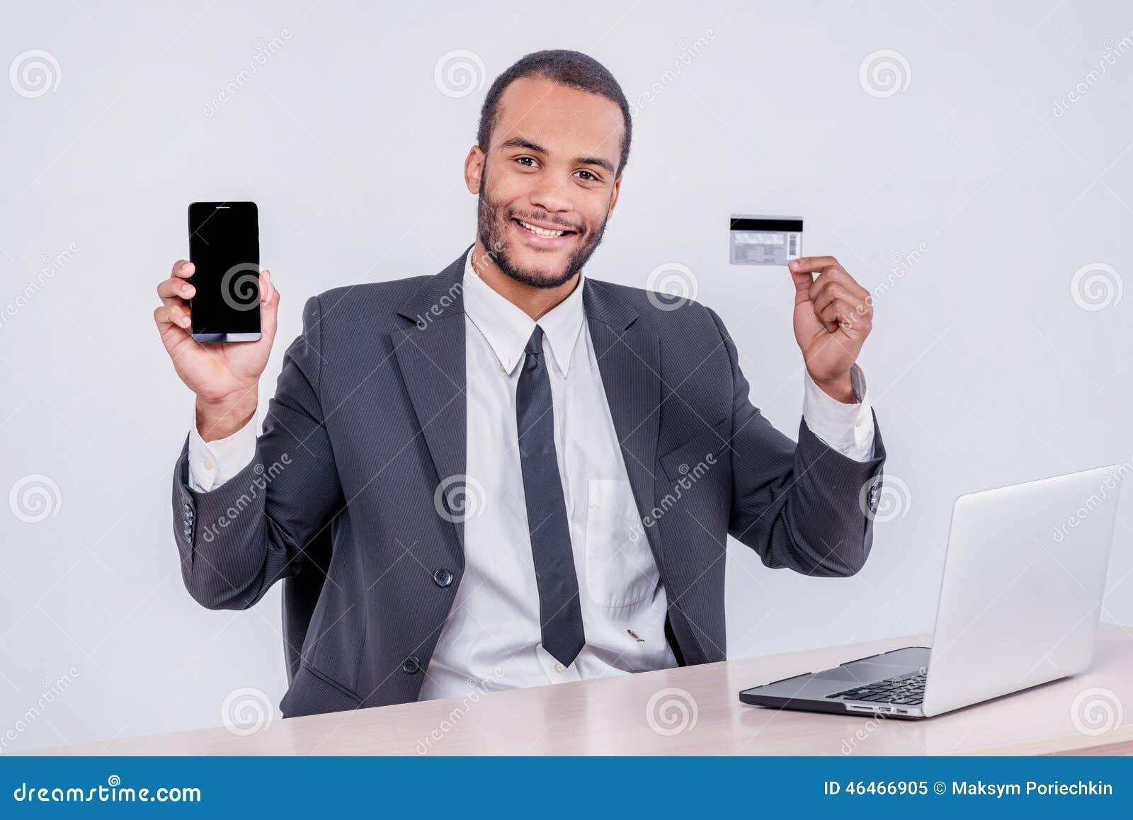 Internet banking para o negócio Si africano bem sucedido do homem de negócios